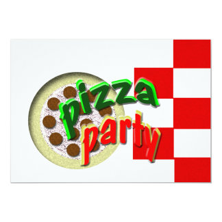 "Pizza Party !!!! 5"" X 7"" Invitation Card"