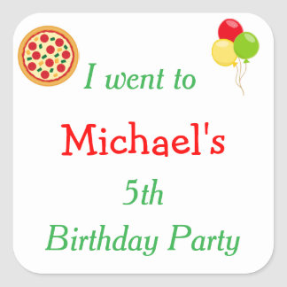 Pizza Party Birthday 'I went to' Square Sticker