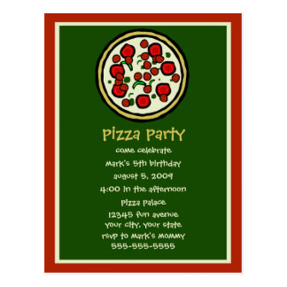 Pizza Party Birthday Invitation Postcard