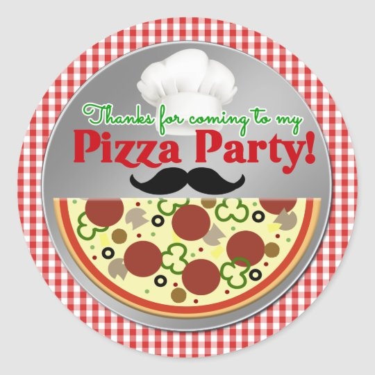 Pizza Party Birthday Thank You Classic Round Sticker
