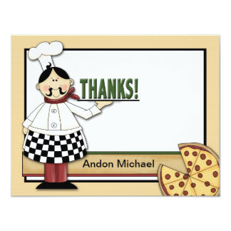 Pizza Party Flat Thank You Card