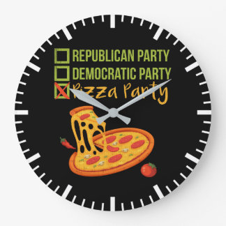 Pizza Party - Funny Novelty Voting Political Large Clock