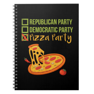 Pizza Party - Funny Novelty Voting Political Spiral Notebook