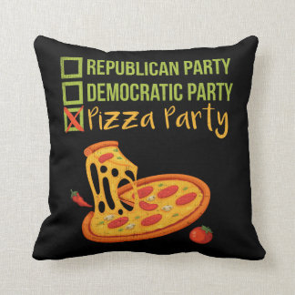 Pizza Party - Funny Novelty Voting Political Throw Pillow
