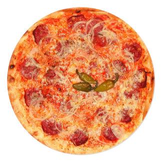 Pizza Party 5.25x5.25 Square Paper Invitation Card
