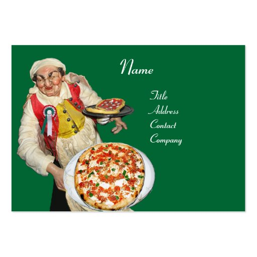 PIZZA PARTY ITALIAN KITCHEN, PIZZERIA ,black green Business Card Templates