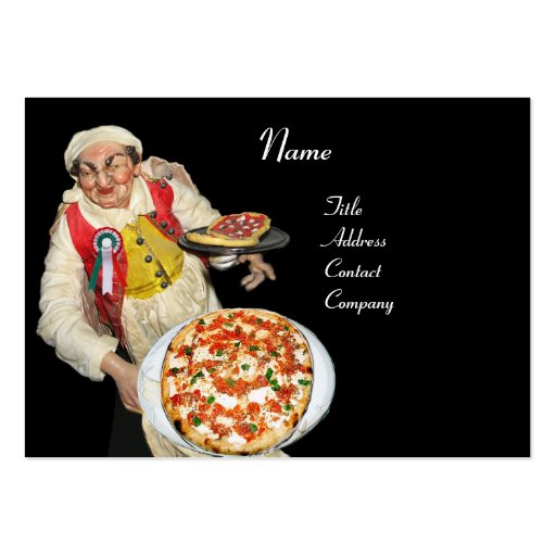PIZZA PARTY  ITALIAN KITCHEN, PIZZERIA ,black red Business Card Template
