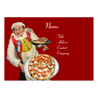 PIZZA PARTY ITALIAN KITCHEN, PIZZERIA ,black red Pack Of Chubby Business Cards