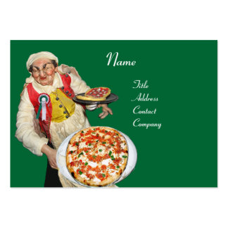 PIZZA PARTY ITALIAN KITCHEN, PIZZERIA ,green red Pack Of Chubby Business Cards