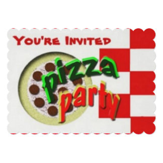 """Pizza Party time 5"""" X 7"""" Invitation Card"""