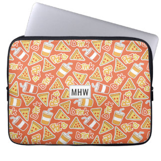 Pizza Pattern custom monogram laptop sleeves