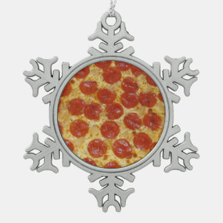 Pizza Pewter Snowflake Ornament