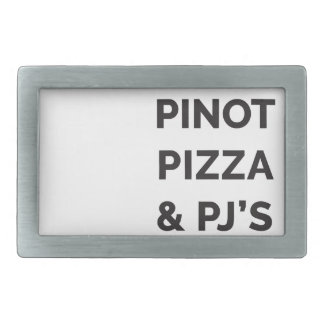 Pizza, Pinot and PJ's Funny Wine Print Belt Buckle