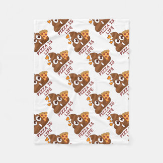 Pizza Poop Emoji Fleece Blanket