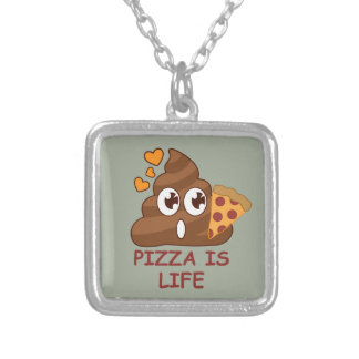 Pizza Poop Life Silver Plated Necklace