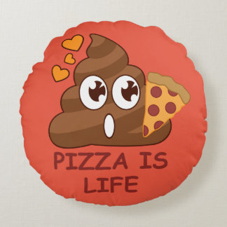 Pizza Poop Lover Round Pillow