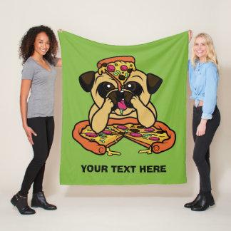 Pizza Pug custom text throw blankets