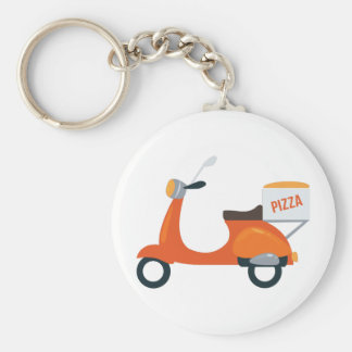 Pizza Scooter Basic Round Button Keychain