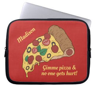Pizza Slice custom name & text laptop sleeves
