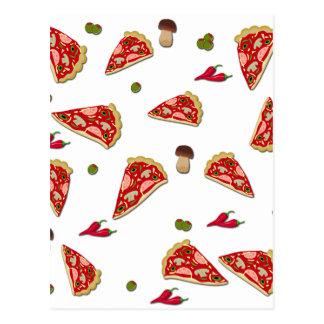 Pizza slice pattern postcard