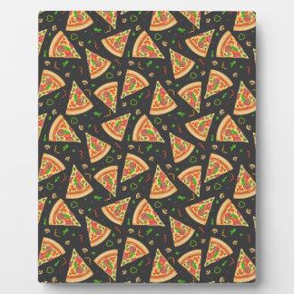 Pizza slices background plaque