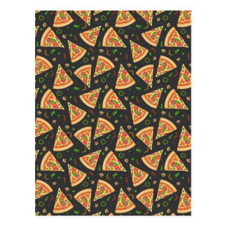 Pizza slices background postcard