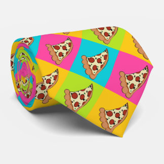 Pizza slices tiled design tie