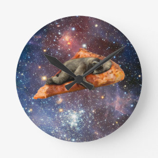 Pizza Sloth In Space Round Clock