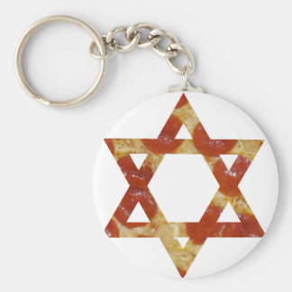 pizza star of david keychain