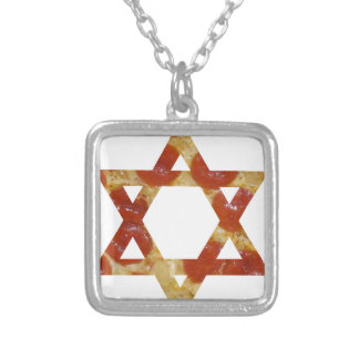 pizza star of david silver plated necklace