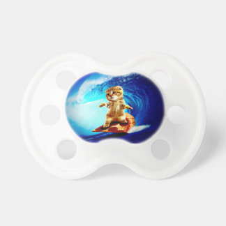 Pizza Surfing Cat Baby Pacifier