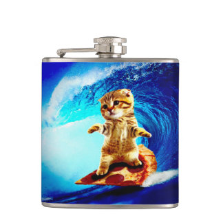 Pizza Surfing Cat Flask