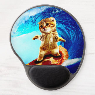 Pizza Surfing Cat Gel Mouse Pad