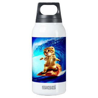 Pizza Surfing Cat Insulated Water Bottle