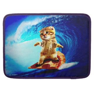 Pizza Surfing Cat MacBook Pro Sleeve