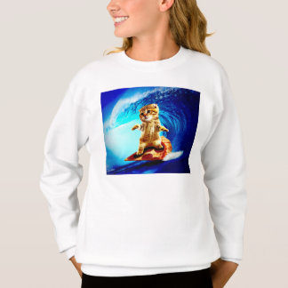 Pizza Surfing Cat Sweatshirt