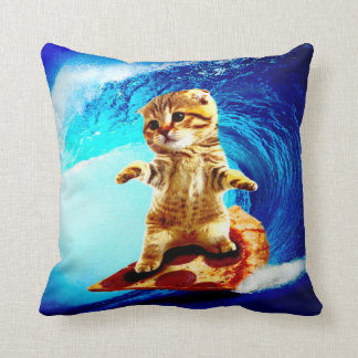 Pizza Surfing Cat Throw Pillow