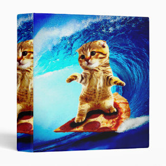 Pizza Surfing Cat Vinyl Binder