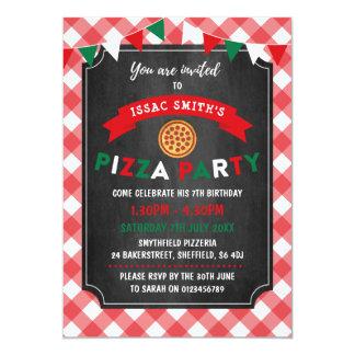 Pizza themed birthday party invitation