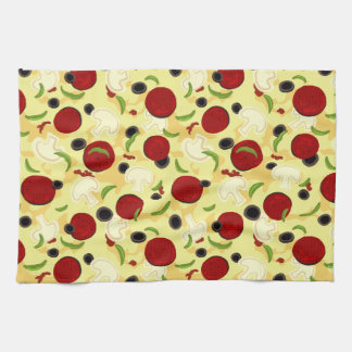 Pizza Toppings Pattern Kitchen Towel