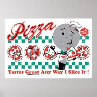 Pizza toute tranche de la manière I il rétro copie Poster