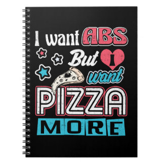 Pizza vs Abs - Bulking Diet - Funny Carbs Novelty Spiral Notebook