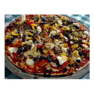 Pizza, with feta, olives, capsicum postcard