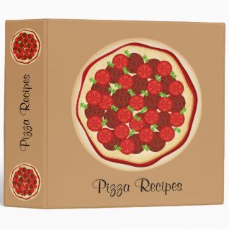 Pizza with pepperoni and tomatoes vinyl binder