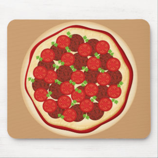 Pizza with pepperoni and tomatoes mouse pad