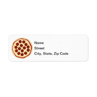 Pizza with pepperoni return address label