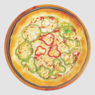 Pizza with Peppers Classic Round Sticker