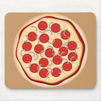 Pizza with tomatoes and onions mouse pad