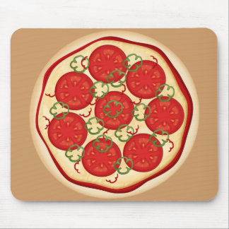 Pizza with tomatoes and peppers mouse pad