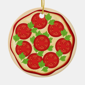 Pizza with tomatoes ceramic ornament